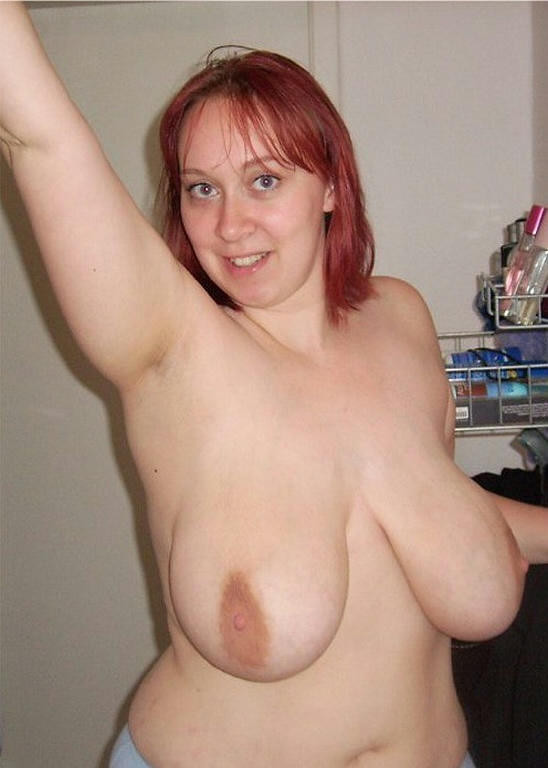 Chubby mature saggy tits