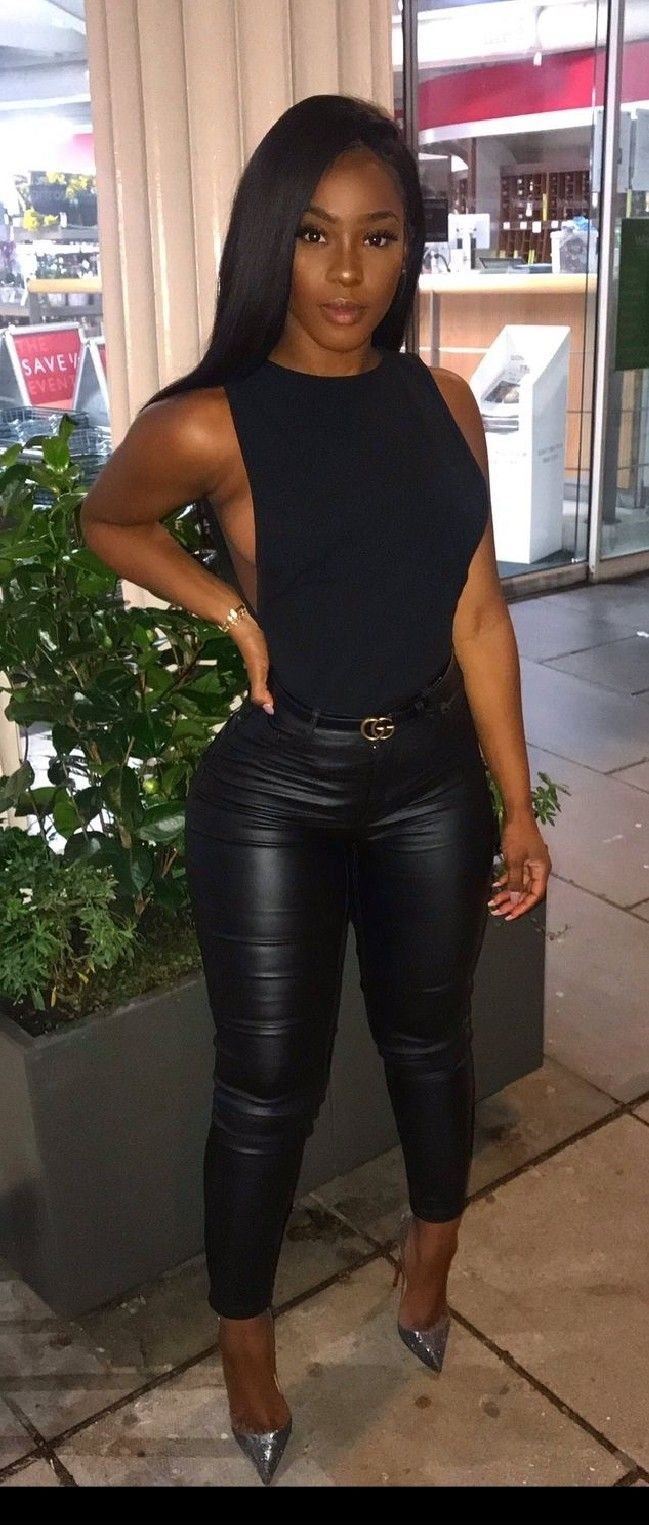 Sexy black girls in leather